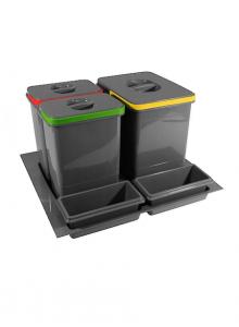 Комплект ведер 3шт GTV MULTINO в ящик выдвижной 600 антрацит