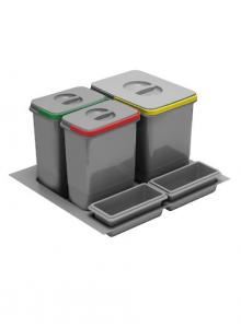 Комплект ведер 3шт GTV MULTINO в ящик выдвижной 600 серый