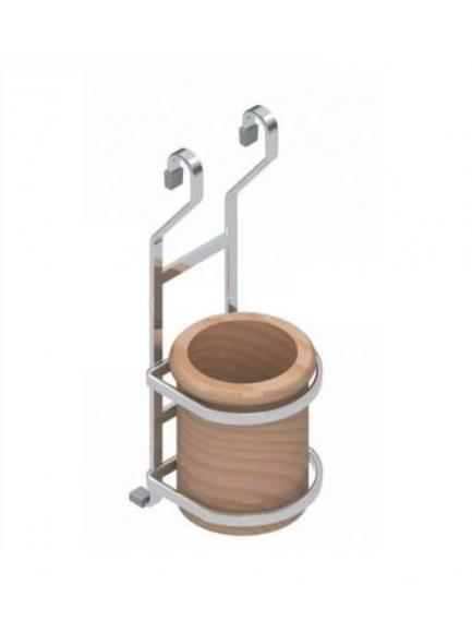 РС чашка для приборов дерево-хром, S-4109